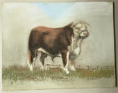 Pastel drawing of Hereford Bull, Farm animal painting, Hereford Cow, Bull in a field, Animal art, Farmyard bull, Brown cow