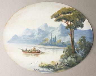 Italian lake scene painting, H Salari artist, Fishermen on lake, Mountain scenery, Blue mountains, Italy landscape, Fishing boats