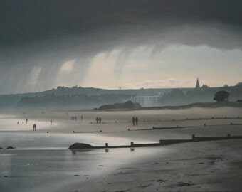 Rain over Alnmouth Beach - Limited edition print (Large)