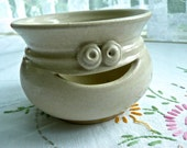 Pottery Egg Separator - Vintage Pottery Bowl - Small Decorative Bowl - Hand Potted Table Bowl - Baking Accessory - Bowl with a Smile - Beige