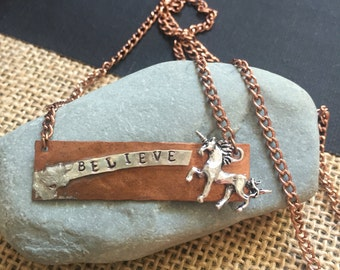 Copper stamped bar necklace Believe Unicorn