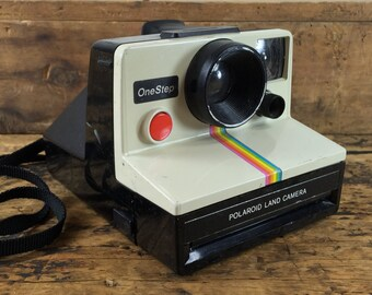Polaroid One Step Instant Camera with Rainbow Stripe / White and Black