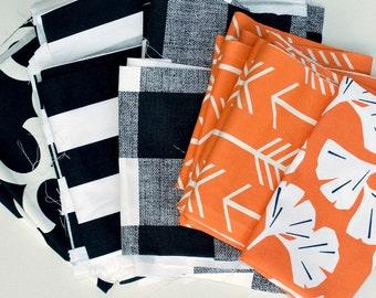 Halloween Orange Black White Fabric Scraps Bundle, Fynn, Canopy, Anderson, Arrow, Gingko, , Home Decor Premier Prints REMNANT CUTS