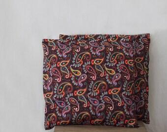 chocolate brown pillows, paisley pillow cases, set of two, vintage cotton blend, retro pillows, throw pillows, decorative cushions, Uzbek