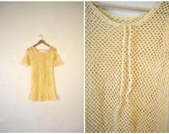 Vtg 90's Crochet Mini Dress