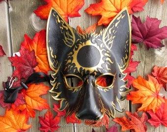 Mystic Sun Wolf Mask, Animal mask, LARP costume, Theater Accessory, Mardi Gras,  Halloween Mask, Cosplay, Fantasy mask