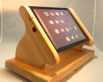 Cedar Wood iPad Mini Stand with Swivel Base for Square, and other POS card readers -