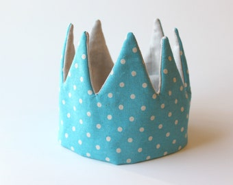 Kid Pretend & dress-up Crown- blue dots and linen flax color