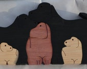 animal puzzle wood 5 dogs scroll saw cut