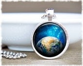Earth Necklace • Inspirational Jewelry • Galaxy Necklace • Astronomy Pendant • Earth Jewelry