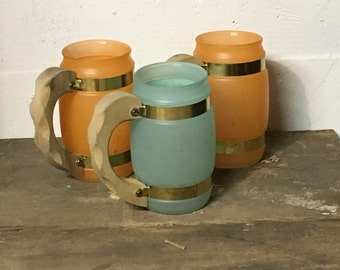 Siesta Ware Frosted Mugs, Wood Handle Mug, Siesta Mug, Frosted Mug, Orange Mug, Green Mug, Beer Mug, Root Beer Mug, Vintage Siesta Ware
