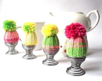Knitted Egg Cozy Set of 4. Egg Cozy. Egg Hat. Egg Warmer. Neon Colors Knitted Egg Cozy.