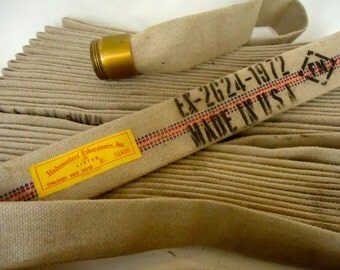 Vintage UNDERWRITERS LAB Canvas FIREHOSE Blue and Red ticking  22 yards unlined Firehose with Brass Couplers Vintage Firehose Craft Supply