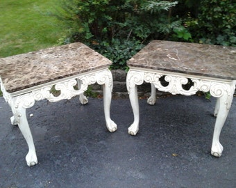 pair of french marble tables REDUCED
