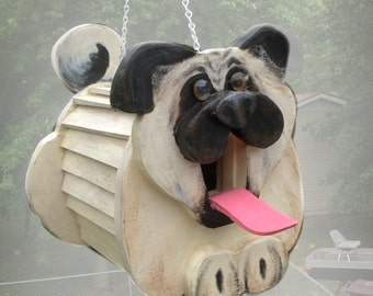 Pugslee the Dog Birdhouse, pug lover, animal lover bird house