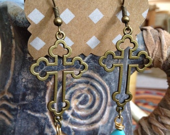 Western bronze cross and turquoise magnesite earrings #E62