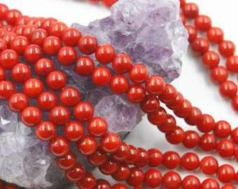 Lot of 5 strands 6mm Bamboo Coral (D) Loose Spacer Beads Round 15.5 inch strand (BD5935)