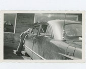 Gas Station Mechanic Under the Hood, 1950s Vintage Snapshot Photo (61444)