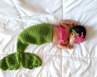Crochet Baby Mermaid Outfit, Baby Mermaid Costume, Baby Mermaid Tail, Mermaid Photo Prop, Newborn Photo Prop, Baby  Costume, Baby Girl Gift