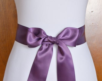 Amethyst Satin Bridal Sash - Wedding Sash - Double Face Satin Sash - Wedding Dress Sash - Satin Sash for Wedding Dress