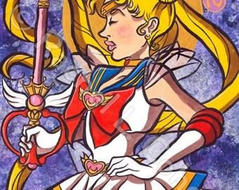 Super Sailor Moon Usagi Tsukino Anime Manga Print of Original Illustration 12x18