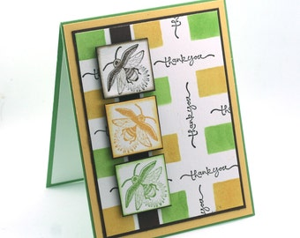 bumble bee thank you card, yellow green firefly, Thanks blank card