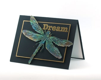 Turquoise Dragonfly 3d card, Dream, nature inspirational blank card, black