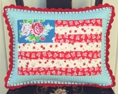 pretty floral flag pillow cover 12x16