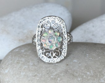 Opal Art Deco Filigree Ring- Natural Opal Vintage Inspired Ring- Statement Opal Solitaire Ring- October Birthstone Ring-Sterling Silver Ring