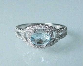 Aquamarine Engagement Ring- Halo Aquamarine Anniversary Ring- Split Band Engagement Ring- March Birthstone Ring- Blue Gemstone Ring