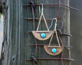 Dangle Geometric Earrings, Turquoise Earrings,Geometric Earrings, Bohemien earrings, Sterling Silver Earrings, Gold Earrings, Brass Earrings