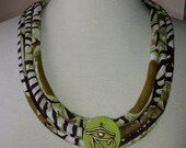 Multi Cord Fabric Necklace with Eye of Horus adornment - African Fabric Jewelry by PaintedThreads