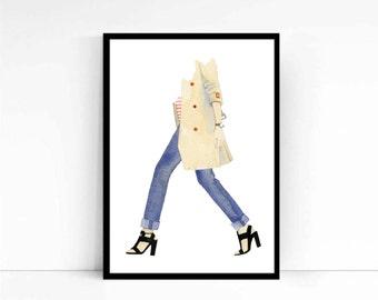 "Watercolor Fashion Illustration ""Paris"" Giclee Art Print Home Decor Wall Art"