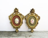 RESERVED for Mahinaz - Vintage Art - Pair of Ornate Frames - Renaissance Art - Kitschy Shabby Fancy