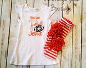 Jesus and Football embroidered flutter sleeve tunic dress-m2m sew sassy- sew sassy spirit line