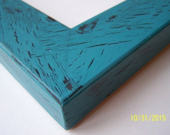 8x10 Ready to Ship Picture Frame ~ Rustic ~ Crackle ~  Shabby Chic ~ 1 1/4 in Flat Profile ~ Teal Zeal over Black