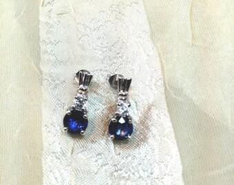 20% OFF Back2SchoolSale Midnight Blue Sapphire Earrings in Sterling Silver Handmade Jewelry