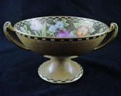 """Antique Noritake Pedestal Compote Hand Painted Floral Decor Heavy Gold 1920 Green Marking with """"M"""" Morimura Bros."""
