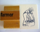 vintage wooden image stamp - farmer - old school stamp - rubber stamp - ink pad - collectible - art - print - art studio - classroom