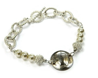 CUSTOM Coin Silver Dime Bracelet; 55th 50th 45th 40th 30th 20th 18th 16th Birthday; Pearls; Dimes jewelry; Silver Link Anniversary; Wedding