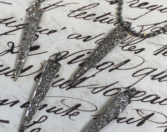 Diamond pave spike pendant, pave dagger,daggers,genuine diamonds, 28mm, for earrings, or necklace, oxidized Sterling silver, Item #101
