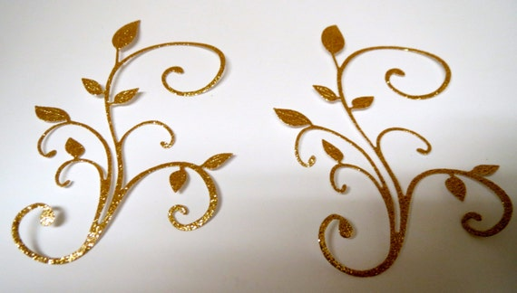 Metallic Gold Foil Glitter Finished Flourish Die Cuts