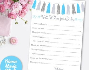 Boy Baby Shower Wishes for Baby - Printable Silver Blue Gray -Baby Advice Card - INSTANT DOWNLOAD