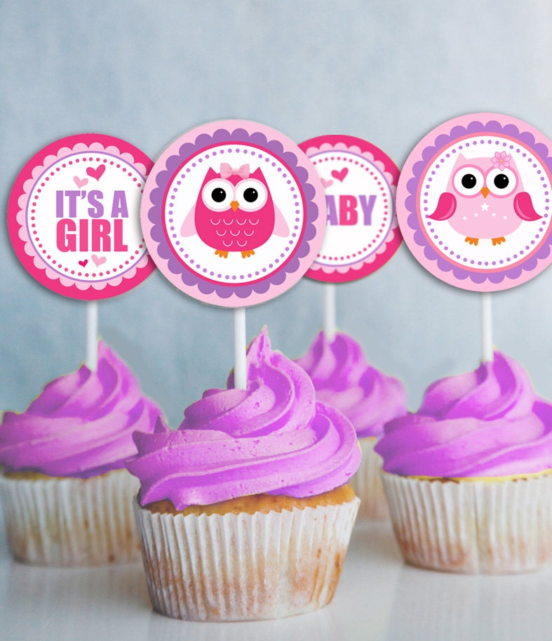 Owl Cupcakes For Baby Shower: Owl Cupcake Toppers Printable Baby Shower Decorations