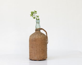 Vintage Wicker Covered Green Bottle - Vintage Wicker Covered Wine Bottle - Vintage French Wicker Bottle - Antique Wicker