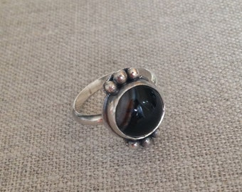 Silver and Sardonyx Ring - Sterling Silver