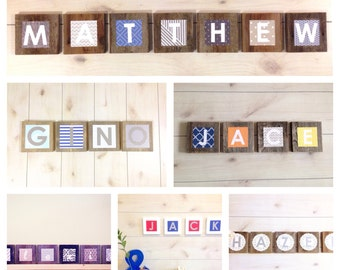 Custom Nursery Name Blocks - Child Name Sign - Wall Art Baby Names - Wooden Letters For Nursery - Baby Name Letters Hanging - Unique Nursery
