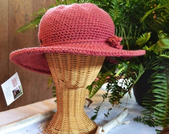 Wide Brim Cotton Hat / Fall and Winter Hats / Sun Hats / Hats for Women / Color DOGWOOD PINK  New / Hat with brim / Ranger Hat / Cowboy Hat