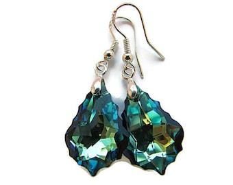 Bermuda Blue Earrings Swarovski Earrings Crystal Earrings Swarovski Crystal Sapphire Blue Jewelry Bridesmaids Bridal Earrings