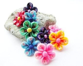6 Mixed Color Fimo Polymer Clay Flowers 22 mm Flower Beads Polymer Clay Beads Fimo Flower Craft Supplies